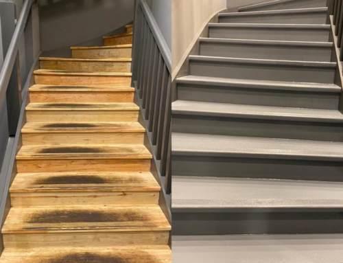 Ремонт ступеней на лестничных пролетах с использованием Line-X